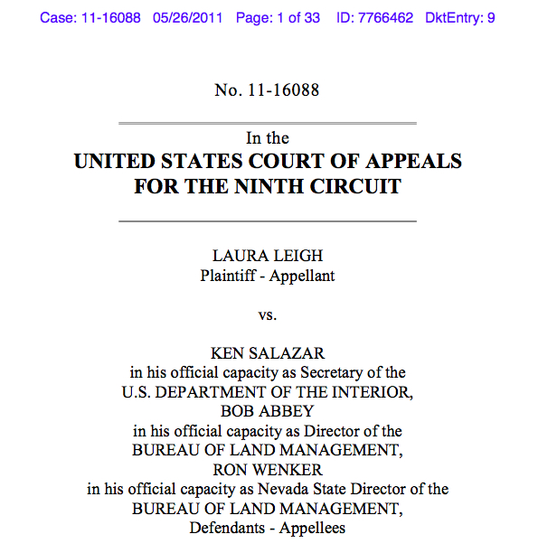 Cover of Brief submitted to the Ninth Circuit two years ago last week
