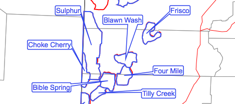Screen grab of BLM map showing Iron County wild horse areas (HMAs) in Utah